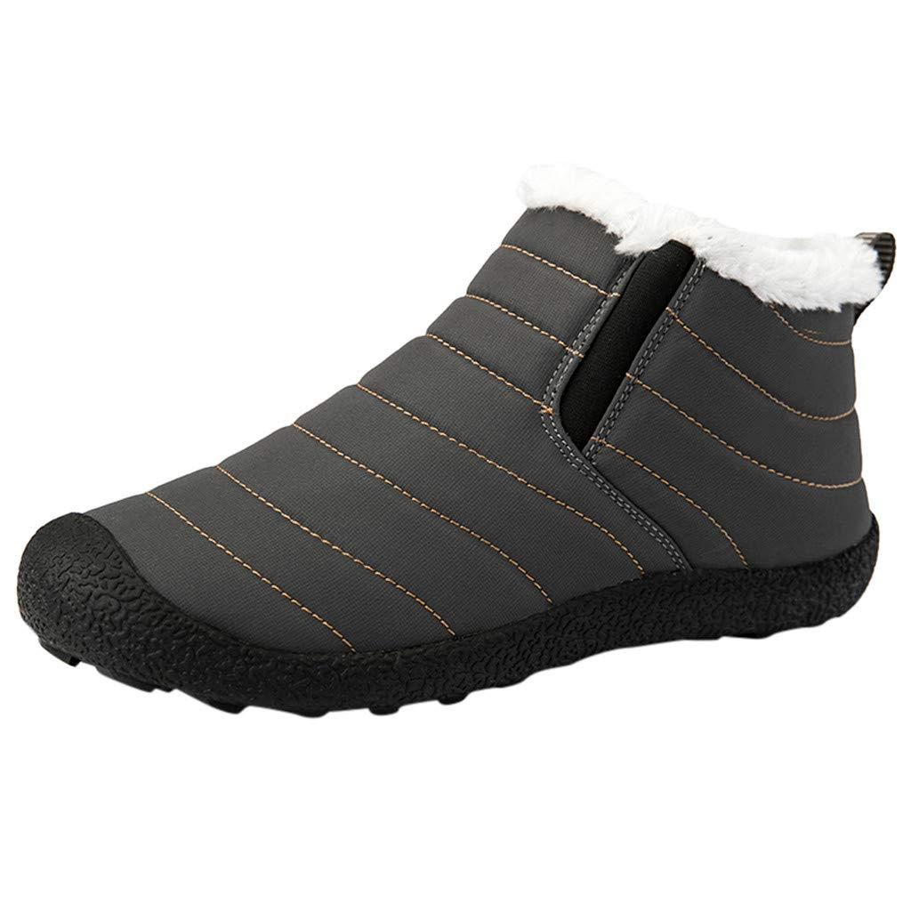 Shusuen Winter Snow Boots Slip on Ankle Bootie Men Women Water-Resistant Anti-Slip Fur Lined Shoes by Shusuen_Shoes