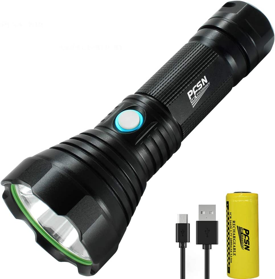 COB LED Flashlight Powerful USB Rechargeable Torch Hunting for Outdoor Camping