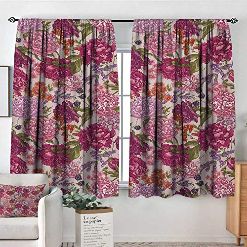 All of better Shabby Chic Thermal Insulating Blackout Curtain Peonies BlackBerry and Wild Flowers in Vintage Style Colorful Nature Theme Patterned Drape for Glass Door 63