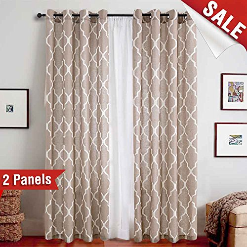Flax Color (Linen Curtains - Flax Linen Blend Textured Curtain Moroccan Tile Print Window Curtain Drapes Set for Living Room Lattice - Quatrefoil 50