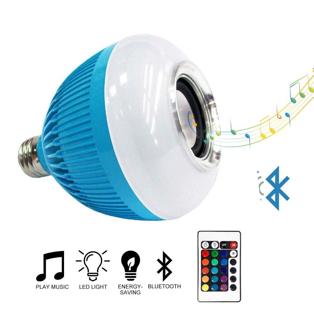 Umiwe Light Bulb Bluetooth Speaker, LED Dimmable Wireless Light Bulb Speaker, RGB Smart Music Bulb E27 Base Color Changing with 24 Keys Remote Control(100-240V)