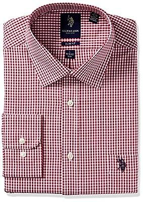 U.S. Polo Assn. Men's Plaid Or Check Slim Fit Semi Spread Collar Dress Shirt