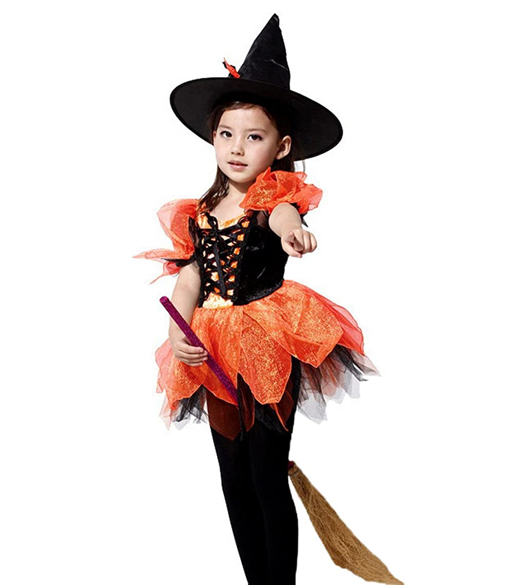 4845a0b35b6 Amazon.com: Girls Witch Costume - Halloween Carnival Party Cute ...