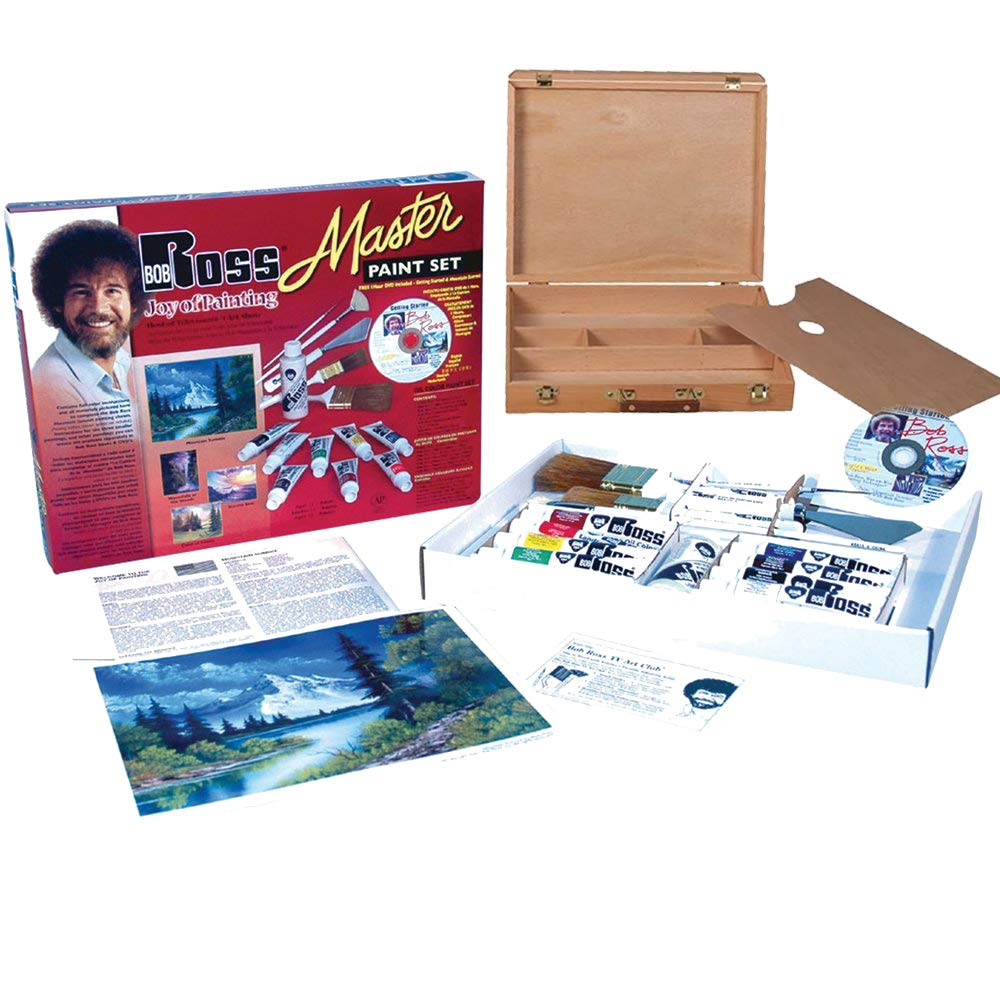 Bob Ross Master Artist Oil Paint Set Includes Wood Art Supply Carrying Case, Painting Palette BobRoss