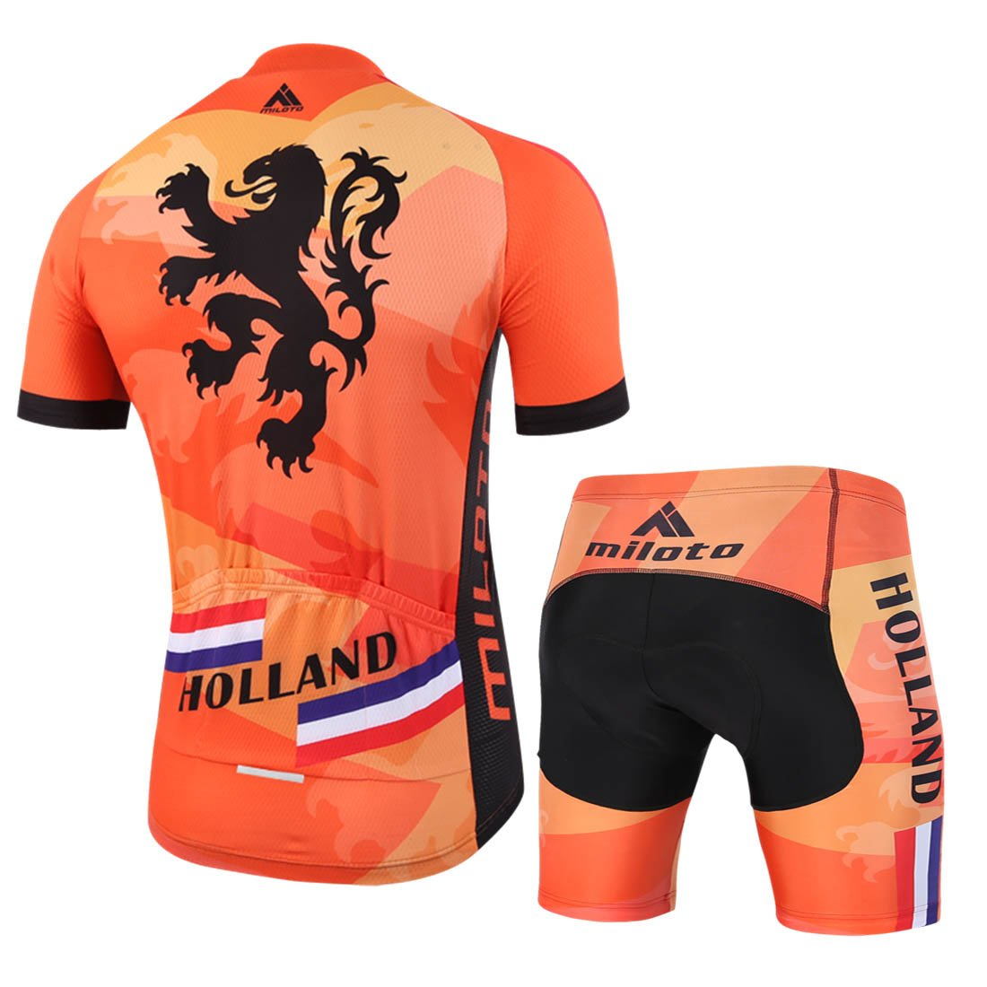 BIYINGEE Mens Cycling Jersey Shorts Sets Short Sleeve with Reflective Stripe
