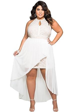 Mujer Plus Tamaño blanco encaje espalda abierta Maxi vestido de fiesta vestido de boda club wear