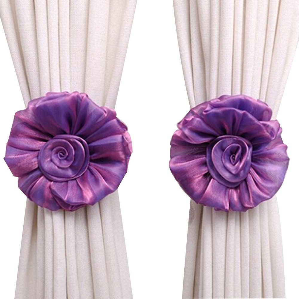 Pink Cute Flower Shape Tie Backs Window Curtains Holder Clamp For Nursery Bedroom Girls Room-Roseo