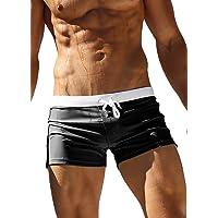 Men's Beach Swimming Trunks Boxer Brief Swimsuit Swim Underwear Boardshorts with Pocket