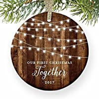 """Our First Christmas Together 2017, Gifts Couple Engaged Keepsake Ornament, Rustic Boyfriend Girlfriend 1st Xmas Farmhouse Collectible Present 3"""" Flat Circle Porcelain w/ Gold Ribbon & Free Gift Box"""