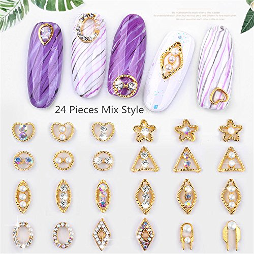 24Pcs Gliter Pearl with Rhinestones Triangle Heart 3D Metal Alloy Nail Art Decoration/Charms/Studs Star Nails 3d Jewelry Hollow Out Metal Frame Accessoires