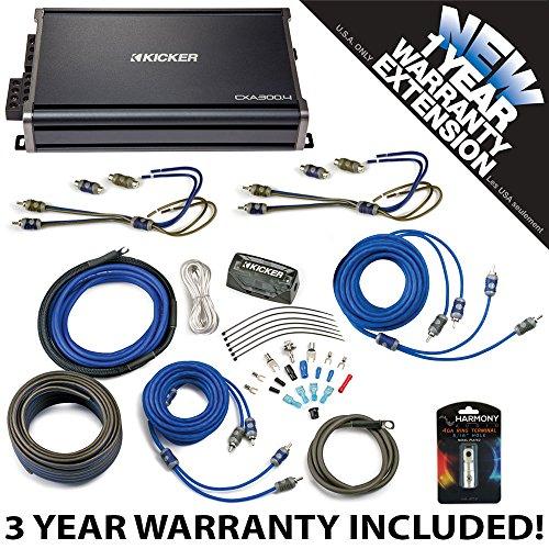 Kicker 43CXA3004 Car Audio 4 Channel Amp CXA300.4 & 4 GA Amplifier Accessory Kit - 3 Year Warranty! ()