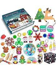 QASIMOF Fidget Adventskalender 2021, aftelkalender, 24 dagen figetsss, speelgoed, set, goedkoop fidget-speelgoed voor Kerstmis, kinderen, volwassenen, stressvermindering en angst