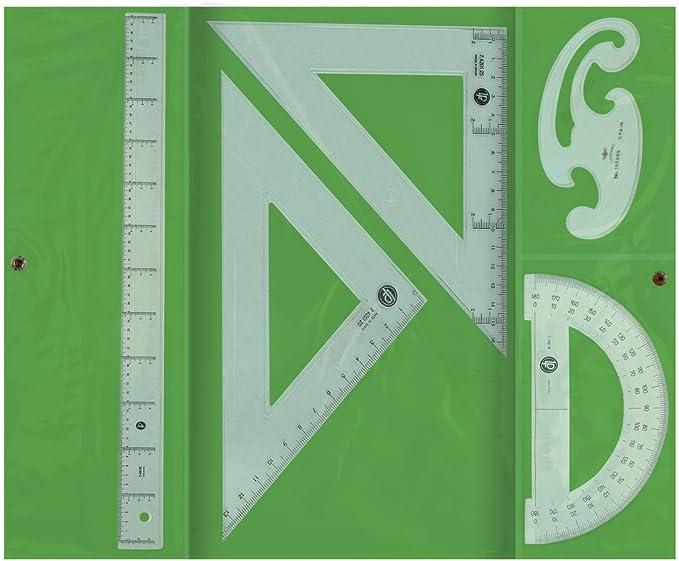 Liderpapel JG03 - Juego escuadra y cartabón, regla y semicírculo, 25 cm, 30 cm, 15 cm: Amazon.es: Juguetes y juegos