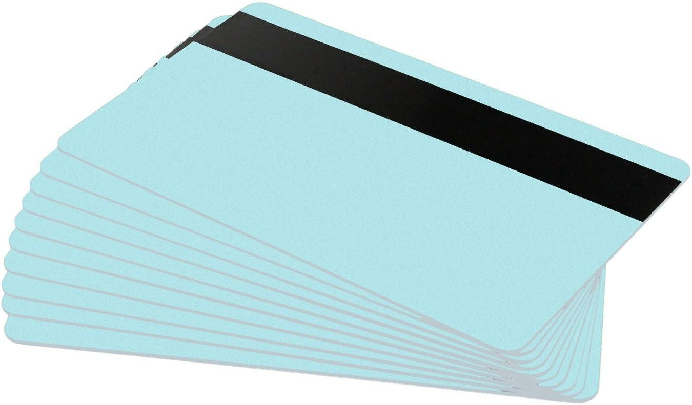Karteo/® Blanko Plastikkarten Karten mit Magnetstreifen HiCo hellblau