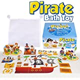 """Ultimate Pirate Bath Toy for Boys - Play & Build Your Own Pirate Kingdom - """"NEW Bath Chore System"""", For Boys ages 2-3-4-5, Toddlers & Kids + Mesh Bag. 43 Pieces"""