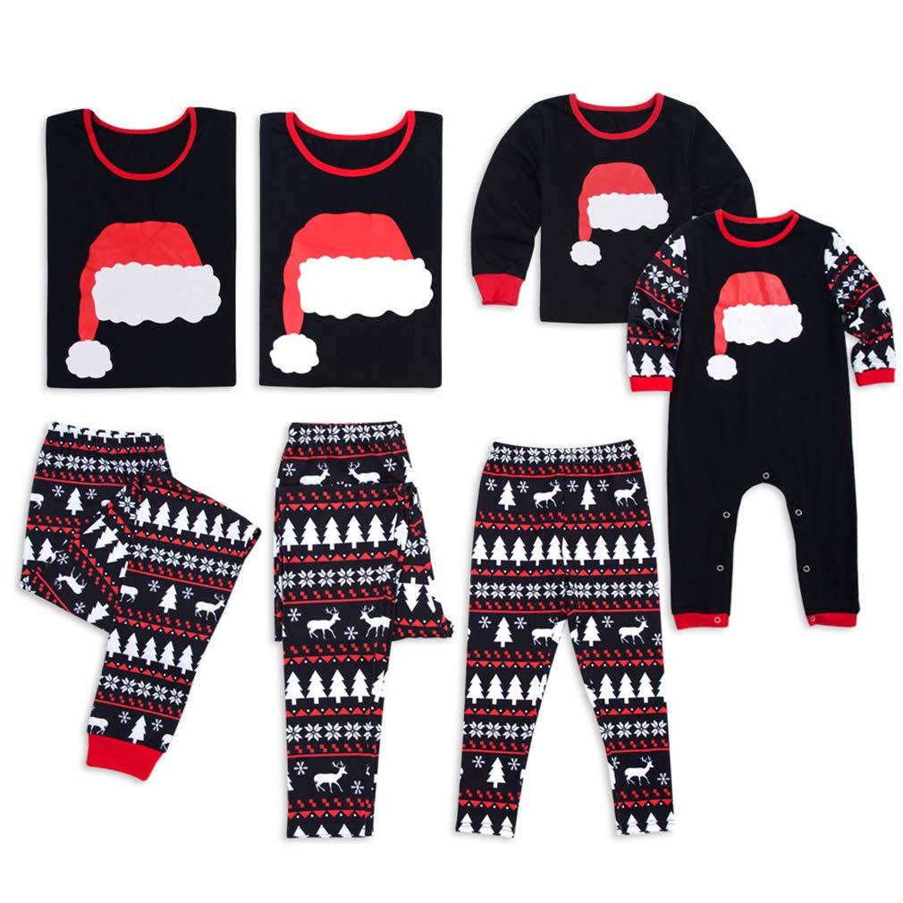 Junkai Pigiama natalizio Imposta abbinamenti per la famiglia Pigiameria Indumenti per la casa Vestito 2 pezzi Stampato per padre e madre R180825SD10-ka