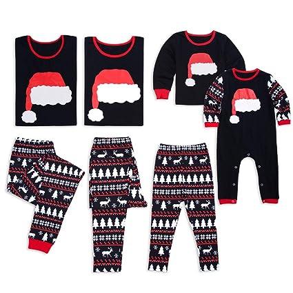 Juqilu Pijamas de Navidad Familiar a Juego Niños Niños Adultos de Manga Larga Conjuntos de Pijama de café Pijama para niños para Parejas Ropa de Dormir ...