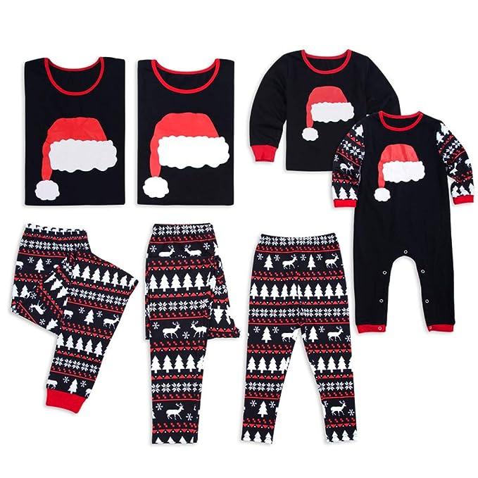 Junkai Conjuntos de Pijamas de Navidad Ropa de Dormir a Juego para la Noche Ropa de