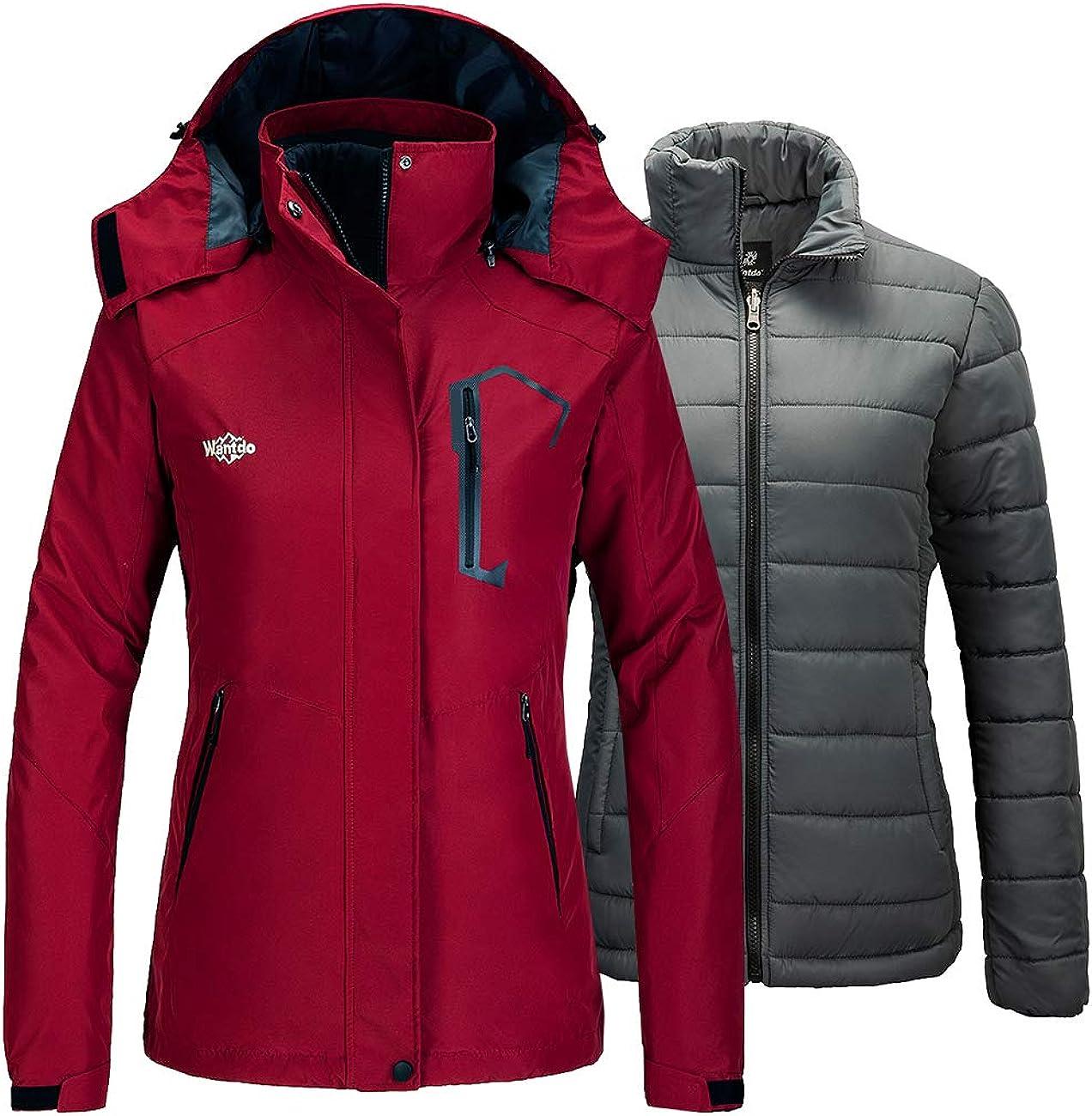 Wantdo Women's 3 in 1 Waterproof Ski Jacket Mountain Snowboarding Jacket Winter Snow Coat