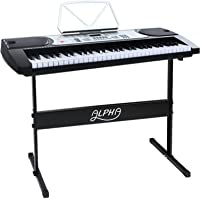 Alpha Electronic Keyboard Piano 61 Keys LED Electric Silver with Music Stand for Beginner