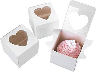 """ONE MORE 3""""Mini Single Favor White Cupcake Boxes with Heart Shape Window without Handle,Small Cupcake Box Carrier Individual Containers 3X3X3inch,Pack of 24"""