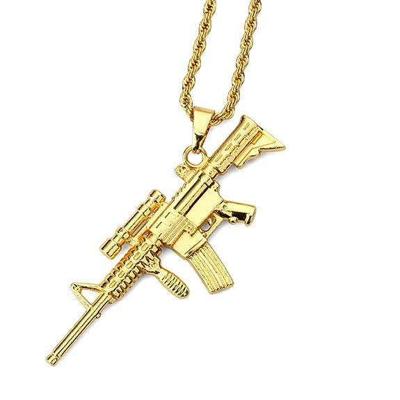 Collar con colgante de rifle de francotirador chapado en orohttps://amzn.to/2Mc0Jii