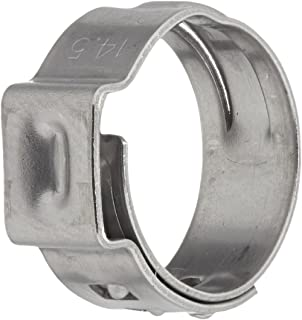 10.5 mm Hose OD Range Oetiker 15500000 Stainless Steel Hose Clamp with Mechanical Interlock One Ear 8.9 mm 7 mm Band Width Pack of 100