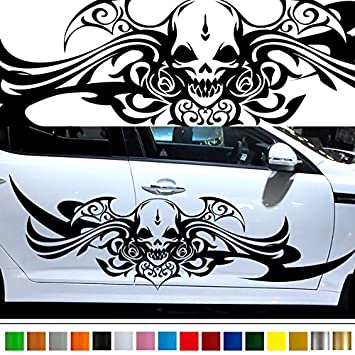 Amazoncom Skull Tribal Car Sticker Car Vinyl Side Graphics Pre - Motorcycle tribal custom stickers designmotorcycle sticker tribal promotionshop for promotional