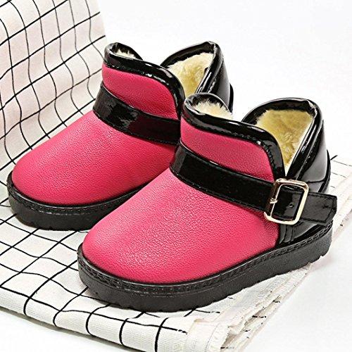Ouneed® Stiefel Stiefeletten , Mädchen Jungen Martin PU Leather Stiefel Wasserdicht Kurz Schlupfstiefel Winter Kinder Schuhe Schnür Ankle Boots Baby Rosa