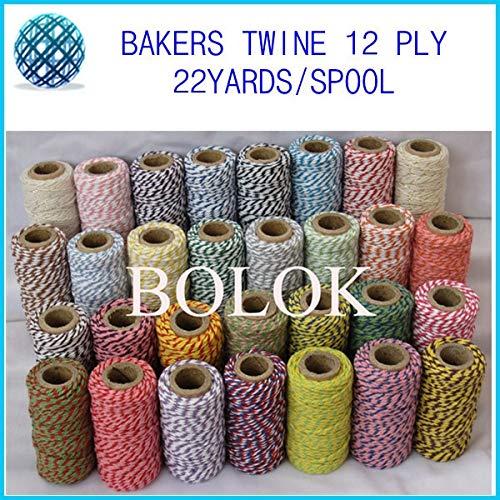 FINCOS 37 Kinds Double Color Baker Twine (22yard/Spool)(15pcs/lot) Divine Twine Wholesale by