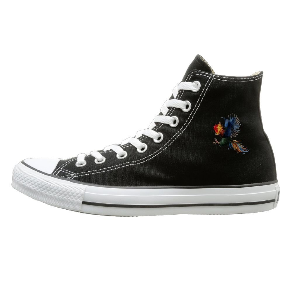 Aiguan Color Cock Canvas Shoes High Top Casual Black Sneakers Unisex Style
