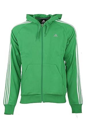 Adidas Clima 3 Stripe Mens Green Full Zip Up Hooded Jacket Hoodie Jumper  (Large) 9f36913ca