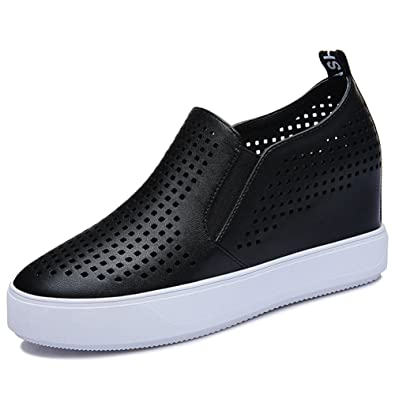 d02829363cd U-MAC Womens Wedge Sneakers Hollow-Out Breathable Slip on Platform Loafters  Casual Shes