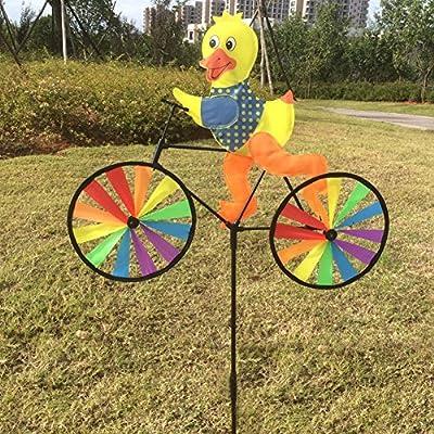 GaoCold Cute 3D Animal on Bike Windmill Wind Spinner Whirligig Garden Lawn Yard Decor (Duck): Garden & Outdoor