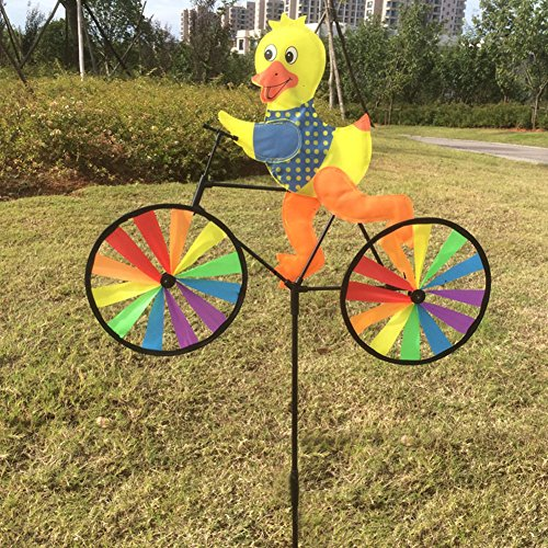GaoCold Cute 3D Animal on Bike Windmill Wind Spinner Whirligig Garden Lawn Yard Decor (Duck)