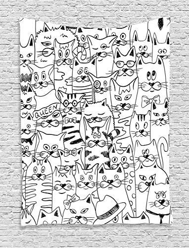 [Supersoft Fleece Throw Blanket Psychedelic Collection Cats with Costumes Bow Ties Humor Kitty Animal Childish Sketch Style Illustration Black] (Katy Perry Haloween Costumes)