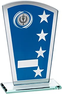 Lapal Dimension Bleu/Silv Imprimé en Verre Shield avec Couronne/Motif étoiles Trophy–(1in Centre) 6,5