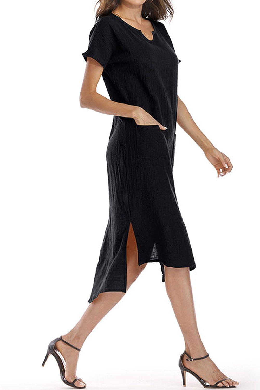 Women Solid Short Sleeve Dress Plus Size Slit Lace Up Dresses