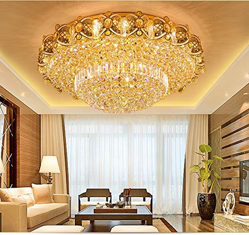KALRI Modern K9 Crystal Gold Chandelier Flush Mount LED Ceiling Lamp Pendant Light Fixture for Living Room Dining Room Bedroom Restaurant Hallway (Dia 23.6'') by KALRI