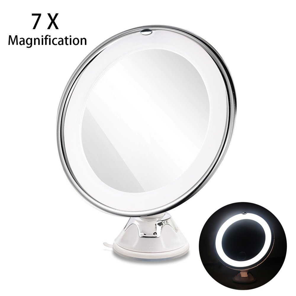 GF Wood 7X Magnifying Mirrors Cosmetic Makeup Mirror With Power Locking Suction Cup Bright Diffused Light 360 Degree Rotating