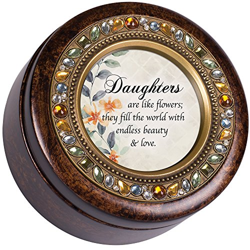 Flower Garden Music Box - Cottage Garden Daugthers Like Flowers Beauty Jeweled Amber Earth Toned Round Music Box Plays Wind Beneath My Wings