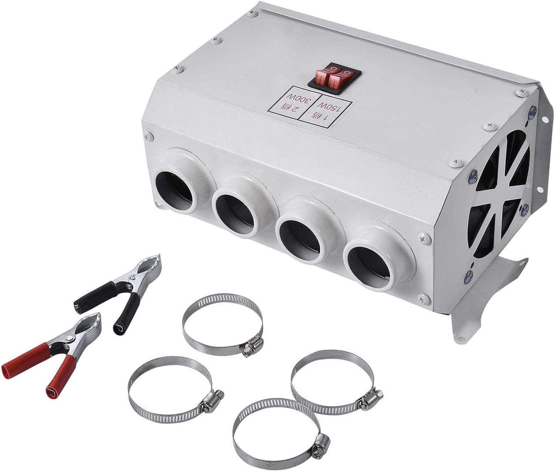 Voloki Calentador eléctrico de coche de 12 V/24 V, calentador eléctrico de 4 agujeros de doble control eléctrico calentador de manos calentador de piernas descongelador de vidrio