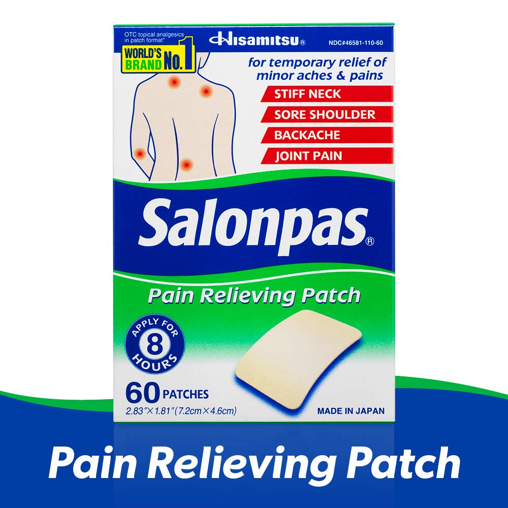 Salonpas Pain Relieving Patch for Back, Neck, Shoulder, Knee Pain and Muscle Soreness - 8 Hour Pain Relief - 60 Count