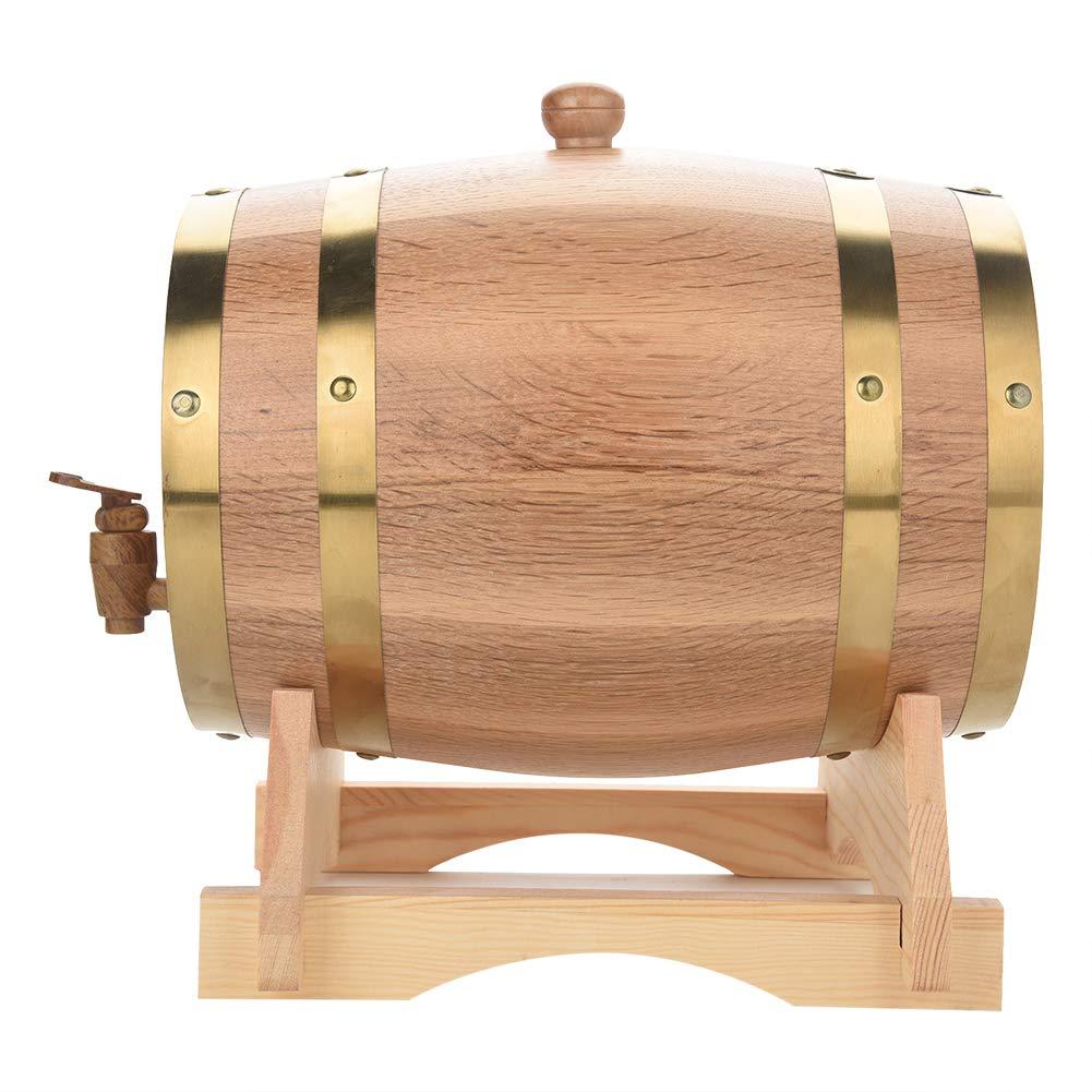 Oak Wine Barrel, 5L Vintage Wood Oak Timber Wine Barrel Dispenser with Gold Steel Hook for Fine Wine, Brandy, Whiskey, Tequila, Rum Port