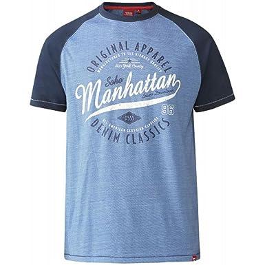 Mens King Size Big Tall T-Shirt by Duke D555 Manhatten Print Short Sleeved