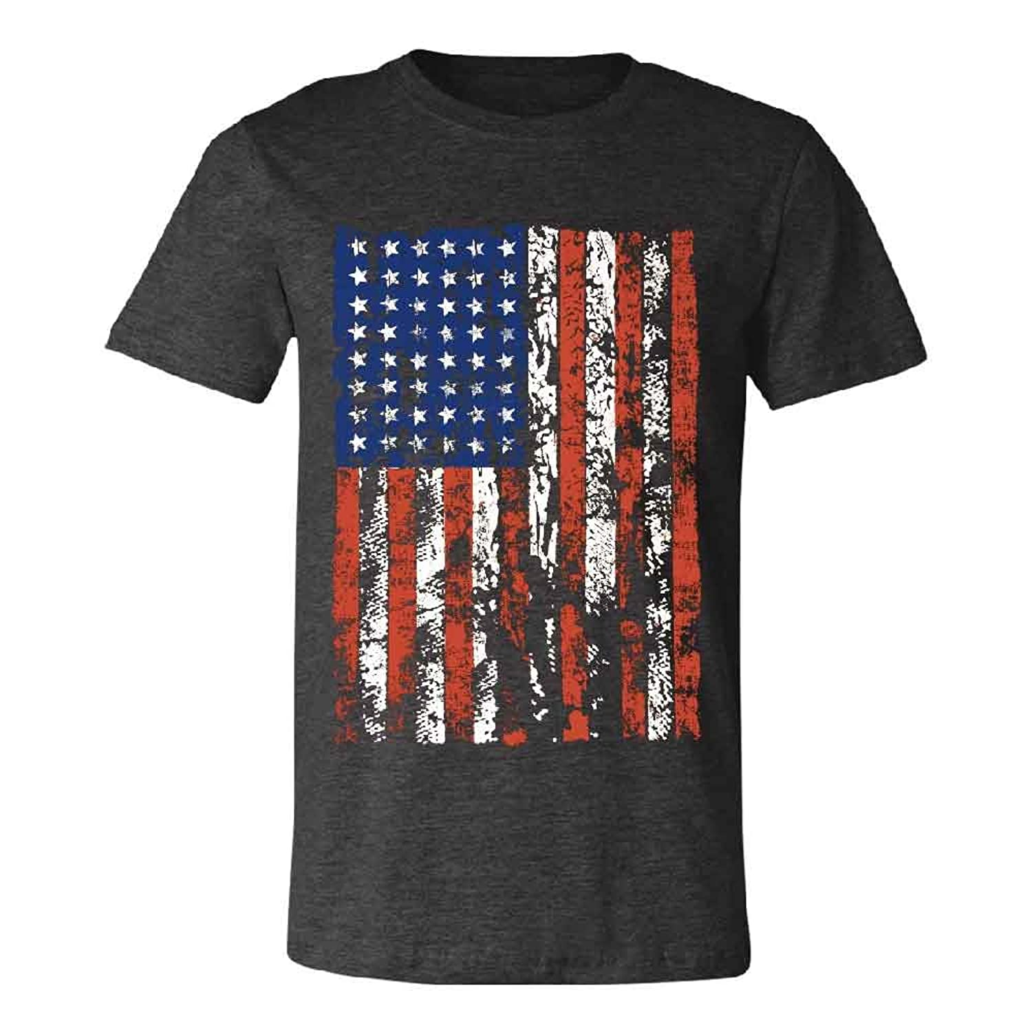 Distressed American Flag Men's T-shirt Vintage USA Flag 4th of July Tee