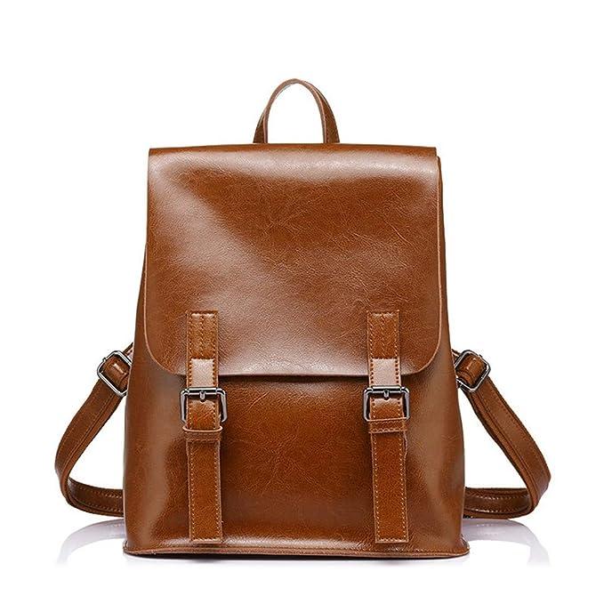 21075c2e8d Donna Moda Per Ragazze Adolescenti Olio Cera Mucca Split Zaini in pelle  Vintage School Bag Shoulder Bag Donna Khaki 17 Inches: Amazon.it:  Abbigliamento