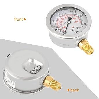 Akozon Medidor de presión de agua 0-600Bar G 1/4