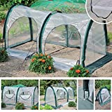 Garden Plant Tent, FOME PE Plant Tunnel Waterproof Durable Cloche Greenhouse for Plants Outdoor Portable Greenhouses with Two Zipper Doors Backyard Flower Shelter 78.8x39.4x39.4 inch