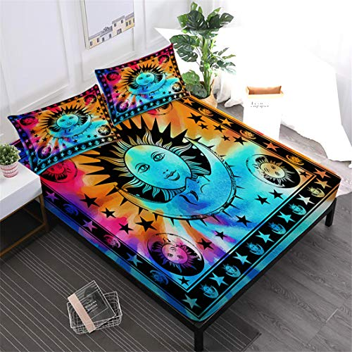 Oliven Sheets Queen Size Tie Dye Boho Moon Sun Printed Bed Sheets Boys Girls Gift Halloween Christmas Home Decor -